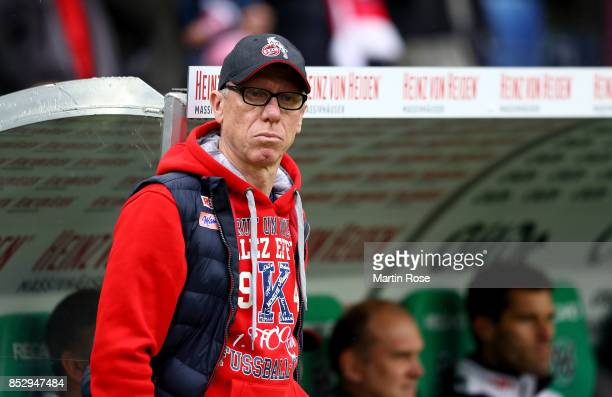Peter Stoeger head coach of Koeln looks on before the Bundesliga match between Hannover 96 and 1 FC Koeln at HDIArena on September 24 2017 in Hanover...