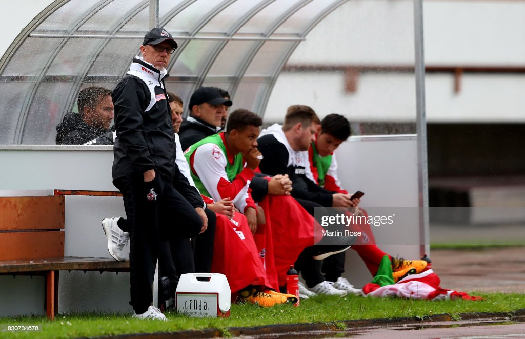 Peter Stoeger, head coach of Koeln reacts during the DFB Cup first round match between Leher TS and 1. FC Koeln at Nordseestadion on August 12, 2017 in Bremerhaven, Germany.