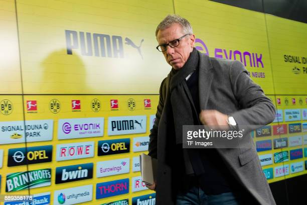 Peter Stoeger is presented as the new head coach of Dortmund during the press conference at Signal Iduna Park on December 10 2017 in Dortmund Germany
