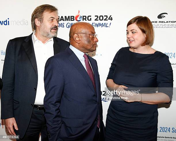 Peter Strahlendorf Ian Kiru Karan and Katharina Fegebank attend the Media Entertainment Night 2015 on November 16 2015 in Hamburg Germany