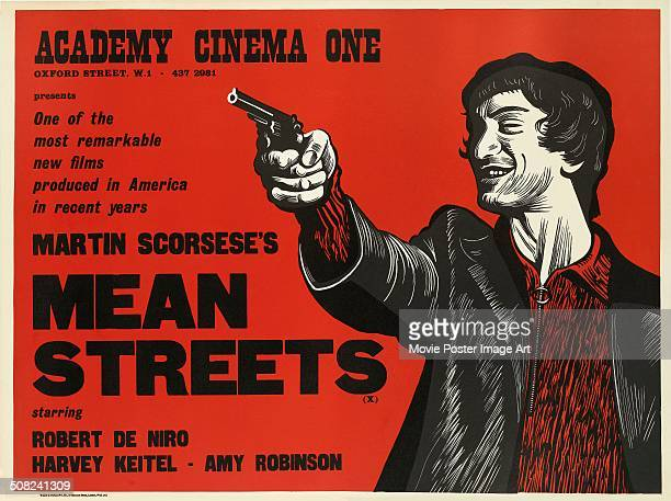 A Peter Strausfeld designed poster for the Academy Cinema screening of Martin Scorsese's 1973 drama 'Mean Streets' starring Robert De Niro
