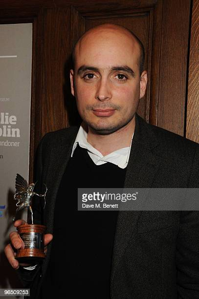 Peter Strickland with his Most Promising Newcomer Award attends the London Evening Standard British Film Awards 2010 at The London Film Museum on...