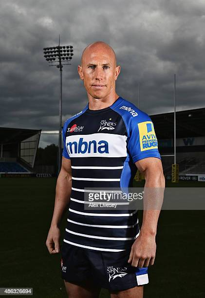 Peter Stringer of Sale poses for a portrait at the photocall held at the AJ Bell Stadium on September 3, 2015 in Salford, England.