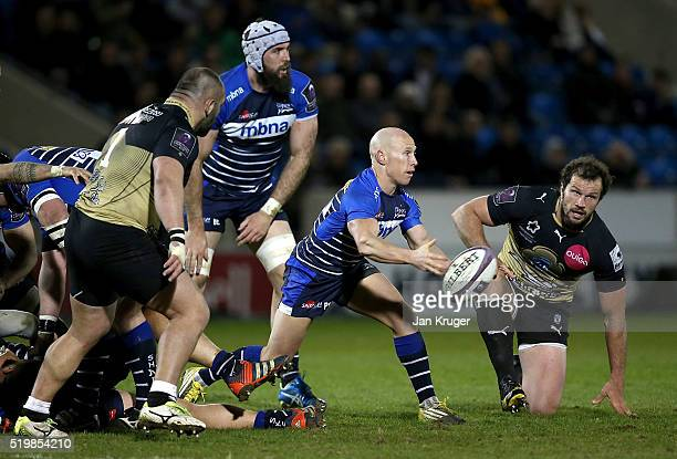Peter Stringer of Sale Sharks spins the ball out during the European Rugby Challenge Cup Quarter Final match between Sale Sharks and Montpellier at...