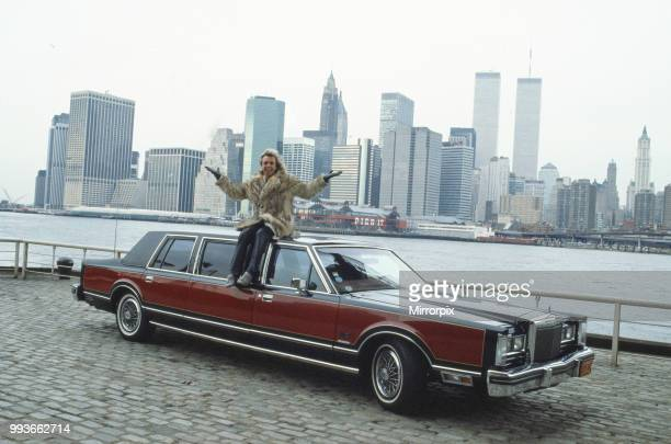 Peter Stringfellow nightclub owner pictured in New York in January 1986 where Peter is opening Stringfellows New York He is sitting on a 45 000...