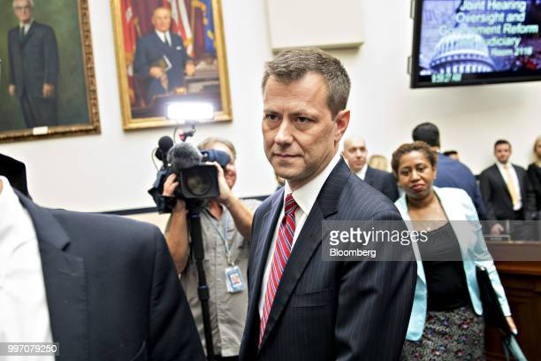 Peter Strzok an agent at the Federal Bureau of Investigation arrives to a joint House Judiciary Oversight and Government Reform Committees hearing in...