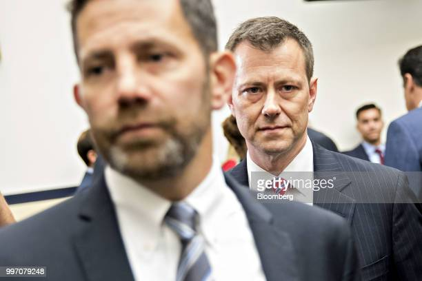 Peter Strzok an agent at the Federal Bureau of Investigation right arrives to a joint House Judiciary Oversight and Government Reform Committees...