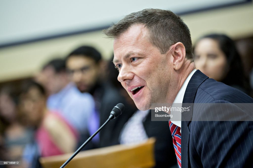 Peter Strzok, an agent at the Federal Bureau of Investigation (FBI), speaks during a joint House Judiciary, Oversight and Government Reform Committees hearing in Washington, D.C., U.S., on Thursday, July 12, 2018. Strzok, the FBI agent who exchanged anti-Trump texts with a bureau lawyer, denied he did anything improper, as he faced a hearing called by Republican lawmakers who say he personifies bias that tainted the agency's Russia investigation early on. Photographer: Andrew Harrer/Bloomberg via Getty Images