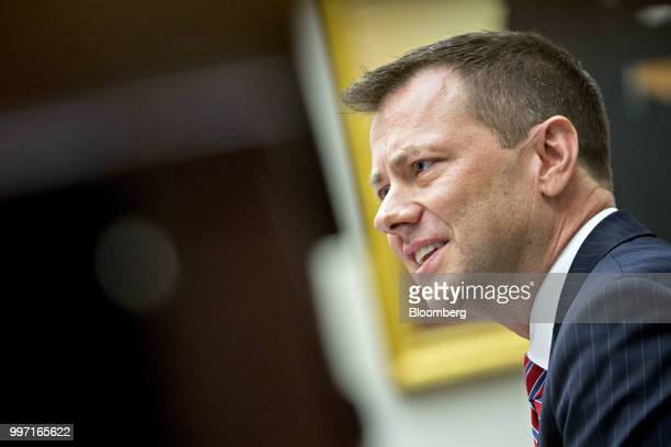 Peter Strzok an agent at the Federal Bureau of Investigation speaks during a joint House Judiciary Oversight and Government Reform Committees hearing...