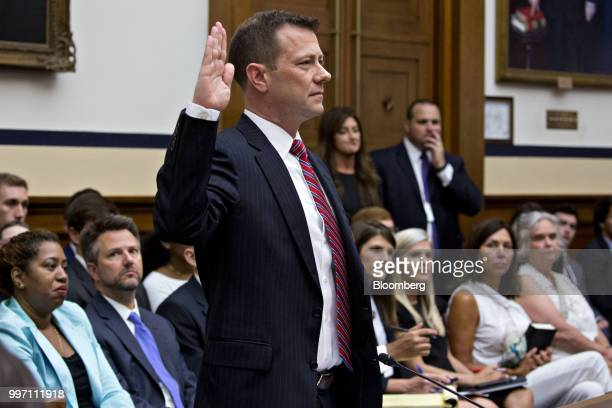 Peter Strzok an agent at the Federal Bureau of Investigation swears in to a joint House Judiciary Oversight and Government Reform Committees hearing...