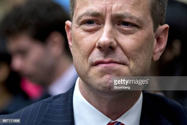 Peter Strzok an agent at the Federal Bureau of Investigation waits to begin a joint House Judiciary Oversight and Government Reform Committees...