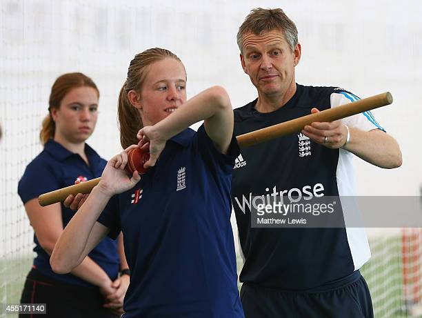 Peter Such talks with the ECB Young Coaches of the Year during the ECB Young Coach of the Year Awards at the National Cricket Performance Centre on...