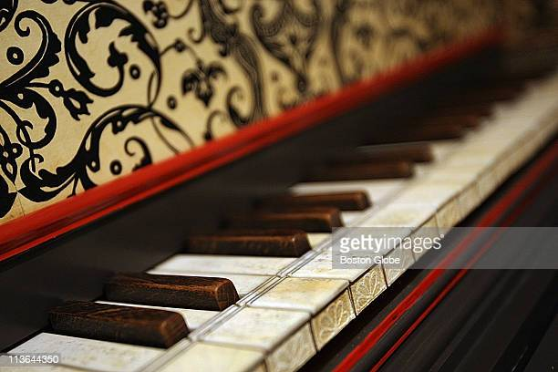 Peter Sykes is a piano/harpsicord/clavicord collector Photographed with his collection at First church of Cambridge This is a detail shot of a...