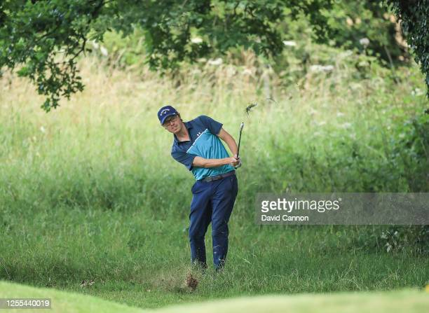 Peter Tarver Jones of England plays his second shot on the 18th hole during the Clutch Pro Tour Major on The Downs Course at Goodwood Golf Club Golf...