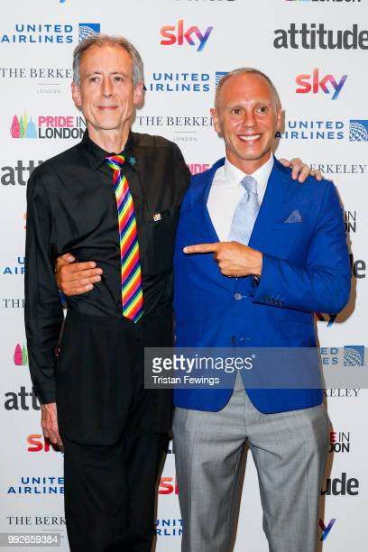Peter Tatchell and Judge Robert Rinder attend the Attitude Pride Awards 2018 at The Berkeley Hotel on July 6 2018 in London England