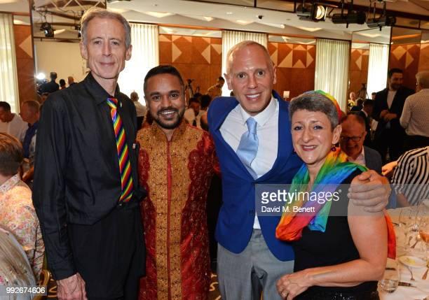 Peter Tatchell Mazharul Islam Judge Robert Rinder and Senior Rabbi Laura JannerKlausner attend the Attitude Pride Awards 2018 at The Berkeley Hotel...