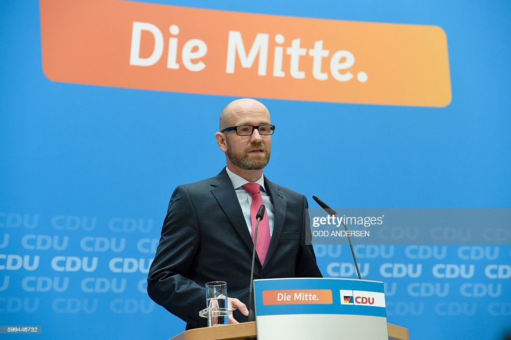 Peter Tauber, Secretary General of the CDU, speaks after the state elections in Mecklenburg-Western Pomerania on September 5, 2016 in Berlin. Merkel's conservative Christian Democratic Union (CDU) won just 19 percent in its worst ever score in the ex-communist northeastern state, while the Social Democrats maintained top place with over 30 percent. / AFP / ODD