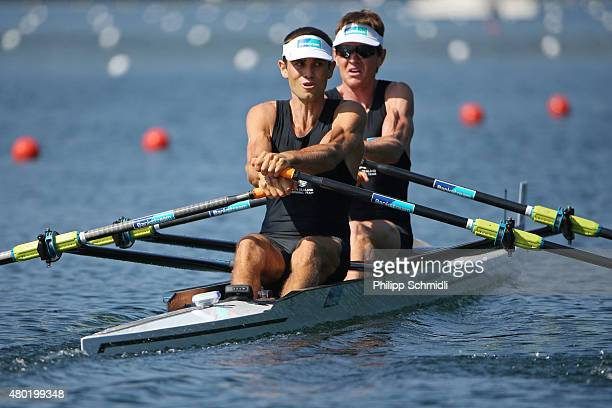 Peter Taylor and Hayden Cohen of New Zealand compete in the Lightweight Men's Double Sculls heats during Day 1 of the 2015 World Rowing Cup III on...