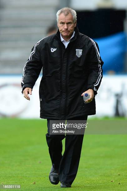 Peter Taylor manager of Gillingham walks onto the pitch before the Sky Bet League One match between Gillingham and Preston North End at The...