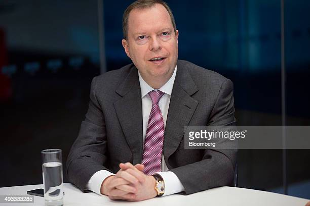 Peter Terium chief executive officer of RWE AG speaks during an interview in London UK on Friday May 23 2014 RWE AG's trading arm named Jan Huss to...