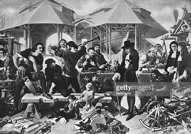 Peter the Great at Deptford Holland Illustration after a painting byd Maclise