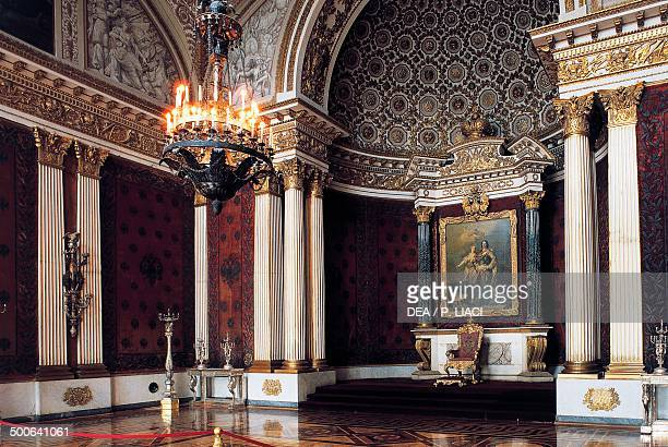 Peter the Great memorial hall or Small throne room the painting Peter I With Minerva by Jacopo Amiconi in the background Hermitage museum St...