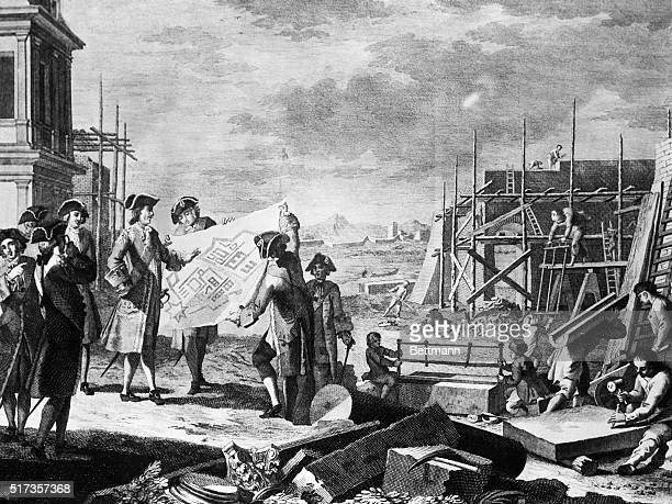 Peter the Great supervising the building of St. Petersburg. 18th century engraving.