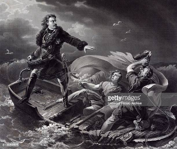 Peter the Great Tsar of Russia on a lake