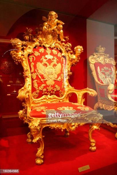Peter the Great's throne inside Kremlin Armoury.