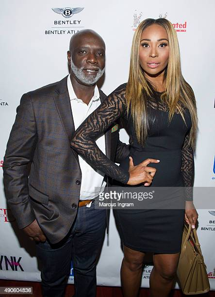 Peter Thomas and Cynthia Bailey attend Unnecessary Trouble video debut party at Time Restaurant on September 29 2015 in Atlanta Georgia