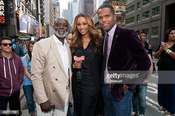 Peter Thomas Cynthia Bailey and AJ Calloway visit 'Extra' in Times Square on April 28 2014 in New York City
