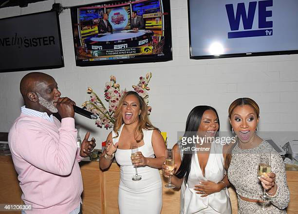 Peter Thomas of Real Housewives of Atlanta shares a laugh with Ruby Rucker Ellen Rucker Carter and Ione Rucker of Love Thy Sister at the WE tv...