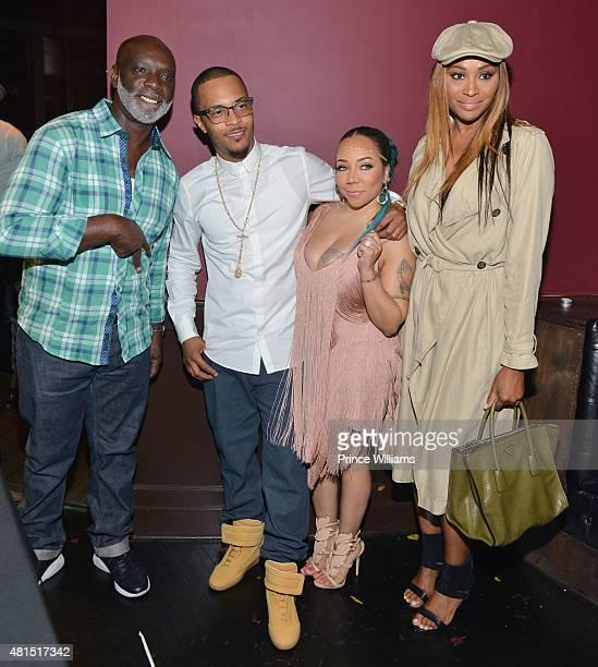 "Peter Thomas, T.I., Tameka ""Tiny"" Harris and Cynthia Bailey attend ""Tiny"" Tameka Harris Celebrity Birthday Affair at Scales 925 Restaurant on July..."