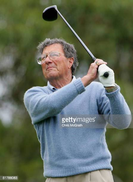 Peter Thomson of Australia in action during the exhibition round before the start of the Hillross Australian Open held at the Australian Golf Club...