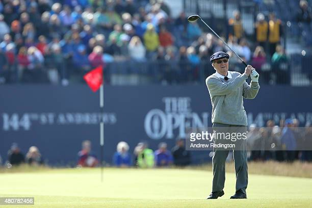 Peter Thomson of Australia tees off on the 18th during the Champion Golfers' Challenge ahead of the 144th Open Championship at The Old Course on July...