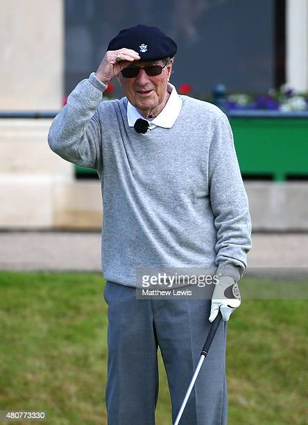 Peter Thomson of Australia waits to tee off on the 1st during the Champion Golfers' Challenge ahead of the 144th Open Championship at The Old Course...