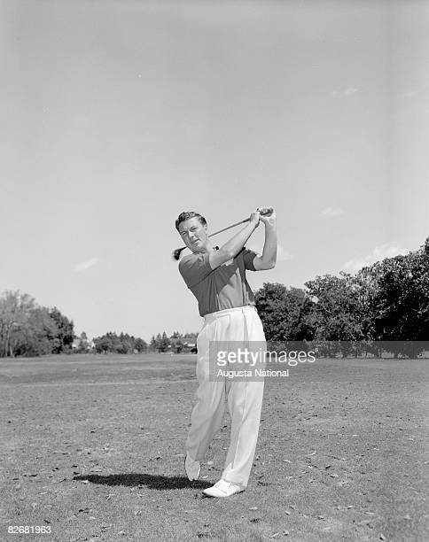 Peter Thomson practices his swing during the 1957 Masters Tournament at Augusta National Golf Club in April 1957 in Augusta Georgia