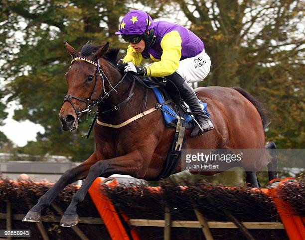 Peter Toole and Dot's Delight clear the last flight to go on and win the John Smith's Conditional Jockeys Novices Hurdle Race run at Fontwell...
