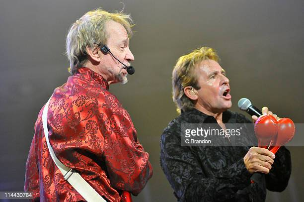 Peter Tork and Davy Jones of The Monkees performs on stage at Royal Albert Hall on May 19 2011 in London United Kingdom