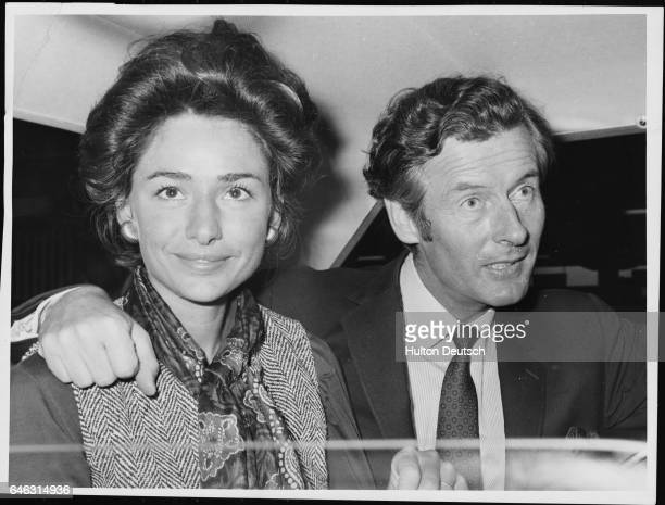 Peter Townsend the writer and former figher pilot with his wife Marie Luce at London Airport, 1969.
