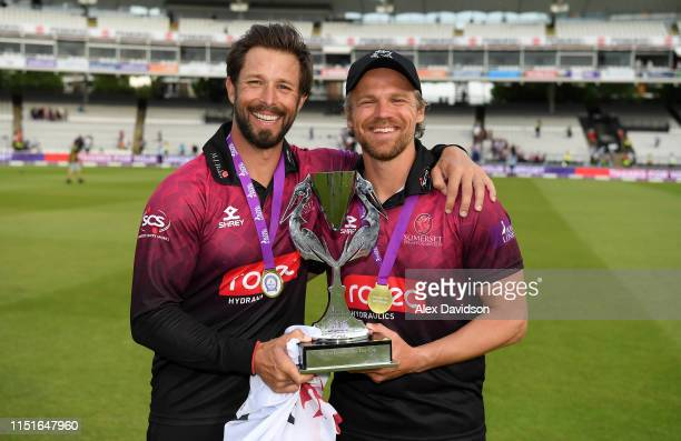 Peter Trego and James Hildreth poses with the Royal London One Day Cup Trophy during the Royal London One Day Cup Final match between Somerset and...