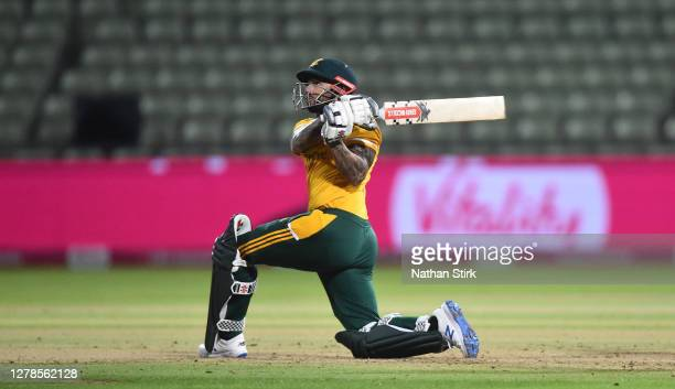 Peter Trego of Nottingham bats during the Vitality Blast 2020 final match between Surrey and Notts Outlaws at Edgbaston on October 04 2020 in...