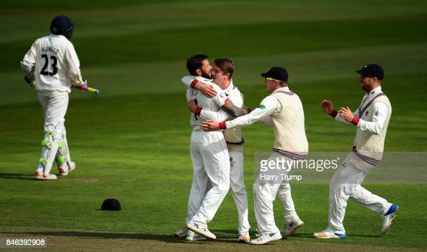 Peter Trego of Somerset celebrates after dismissing Haseeb Hameed of Lancashire during Day Two of the Specsavers County Championship Division One...