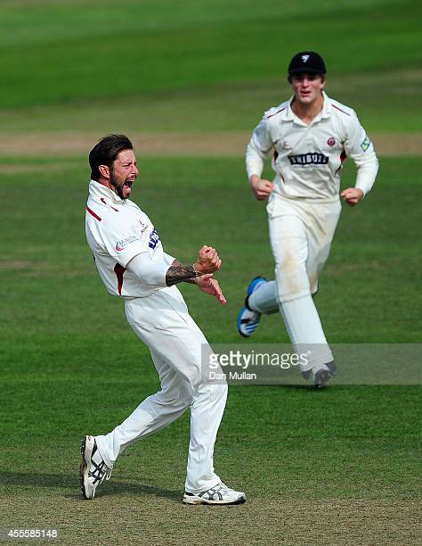 Peter Trego of Somerset celebrates after taking the wicket of Sam Robson of Middlesex during day three of the LV County Championship Division One...