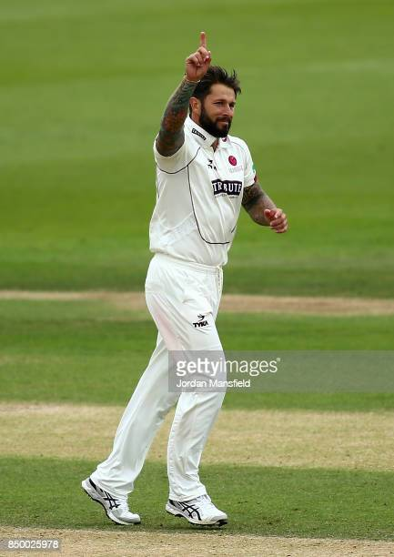 Peter Trego of Somerset celebrates dismissing Ben Foakes of Surrey during day two of the Specsavers County Championship Division One match between...