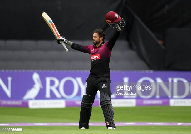 Peter Trego of Somerset celebrates his century during the Royal London One Day Cup match between Somerset and Essex at The Cooper Associates County...