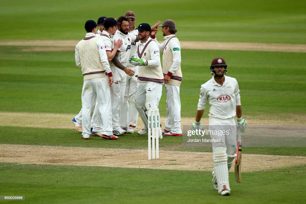 Peter Trego of Somerset celebrates with his teammates after dismissing Ben Foakes of Surrey during day two of the Specsavers County Championship Division One match between Surrey and Somerset at The Kia Oval on September 20, 2017 in London, England.