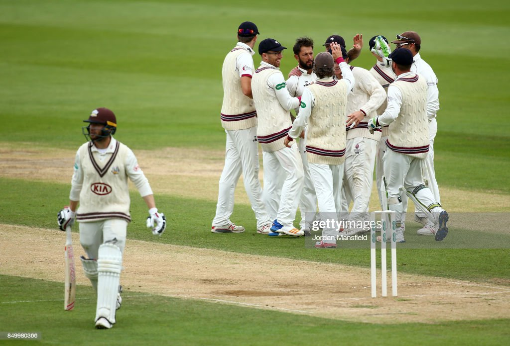 Peter Trego of Somerset celebrates with his teammates after dismissing Mark Stoneman of Surrey during day two of the Specsavers County Championship Division One match between Surrey and Somerset at The Kia Oval on September 20, 2017 in London, England.