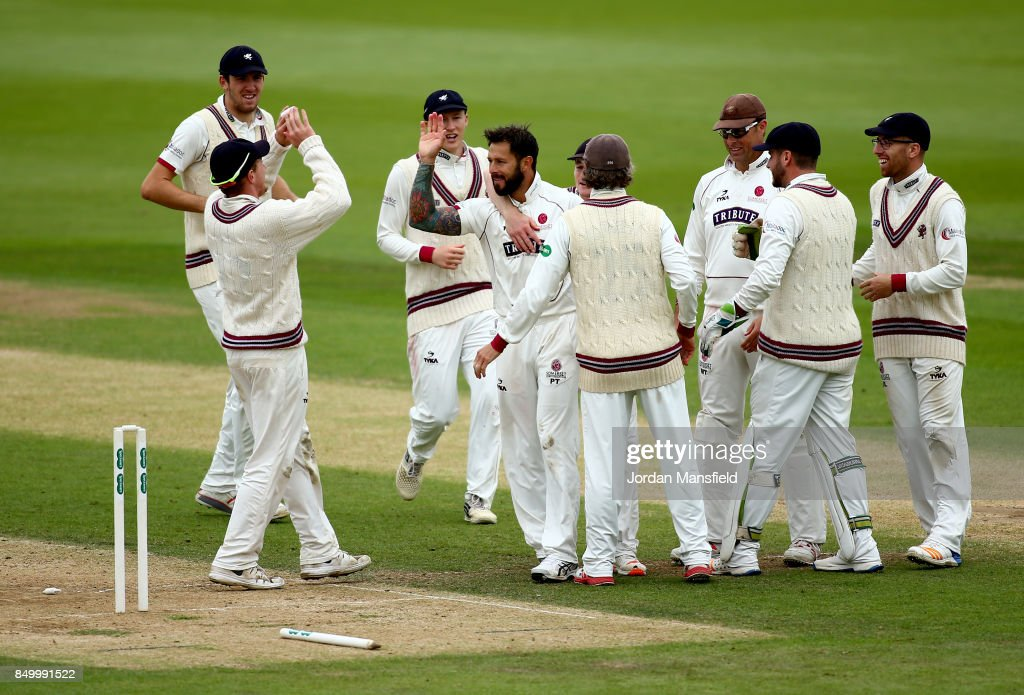 Peter Trego of Somerset celebrates with his teammates after dismissing Rory Burns of Surrey during day two of the Specsavers County Championship Division One match between Surrey and Somerset at The Kia Oval on September 20, 2017 in London, England.