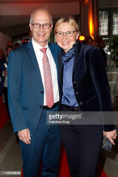 """Peter Tschentscher and Eva Maria Tschentscher attend the """"Tag des Journalismus"""" with Nannen Award 2019 at Gruner + Jahr publishing house at Baumwall..."""